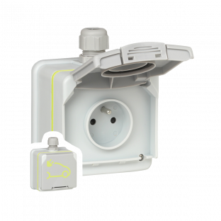 Pack prise sécurisée prêt à poser - Green'up Access : prise de courant saillie + patère + disjoncteur différentiel