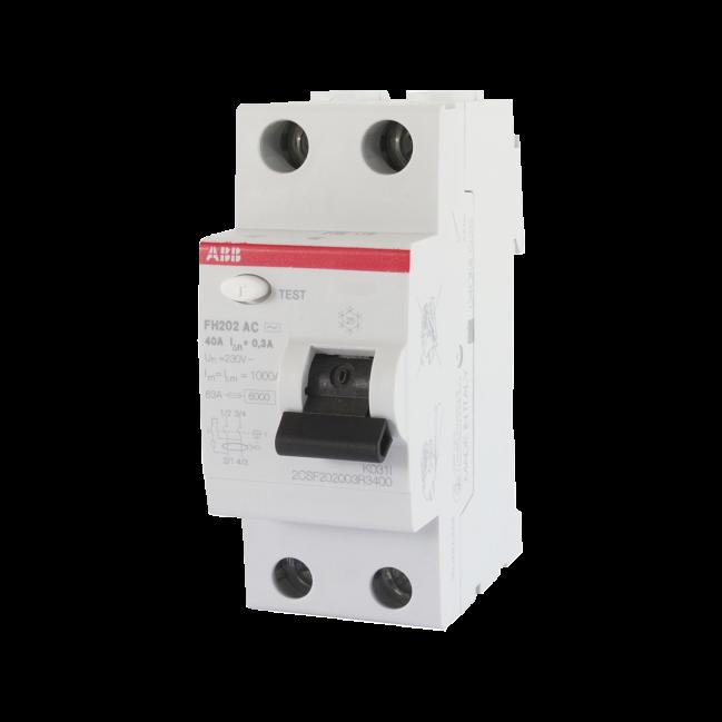 ABB FH202 - Interrupteur différentiel - 1P- 40A - Type A - 30mA - Monophasé